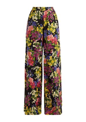 Floral-print silk-blend charmeuse trousers