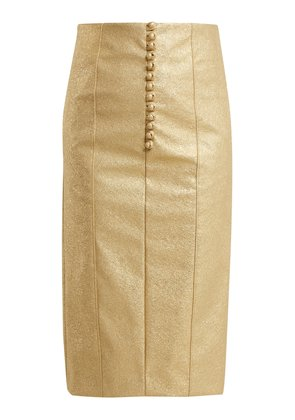 Metallic buttoned faux-leather pencil skirt