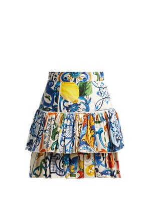 Majolica-print cotton-poplin mini skirt