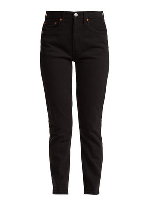 Double Needle cropped straight-leg jeans