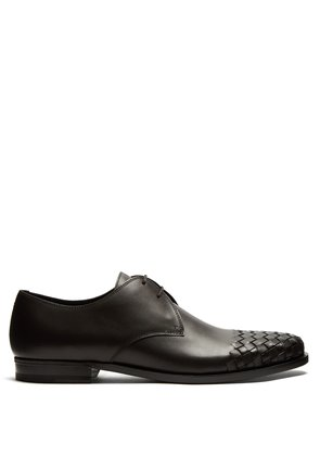 Intrecciato-woven leather derby shoes