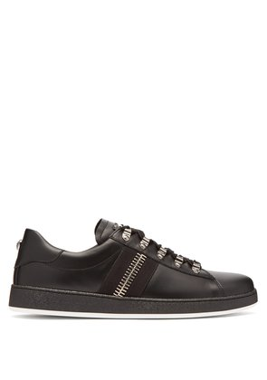 Zipper-trimmed leather low-top trainers