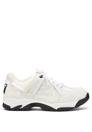Security suede and mesh low-top trainers