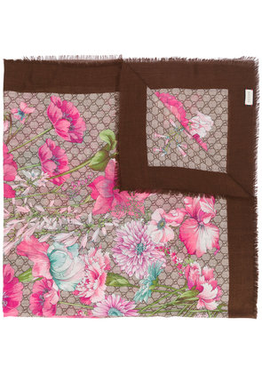 Gucci Spring bouquet shawl - Brown