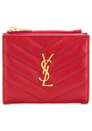 Saint Laurent quilted logo wallet - Red