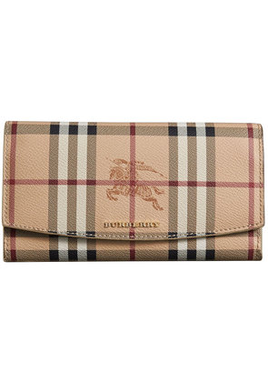 Burberry Haymarket Check and Leather Slim Continental Wallet - Brown