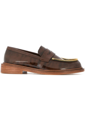 Le Mocassin Zippe patent mocassin loafers - Brown