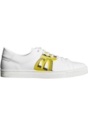 Burberry Logo Print Leather Sneakers - White