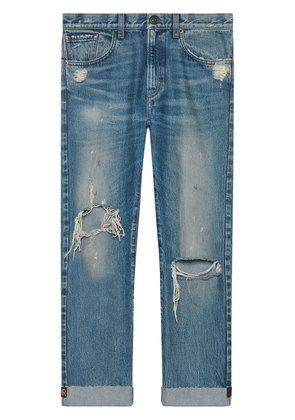 Gucci Jeans with embroidered ribbon - Blue