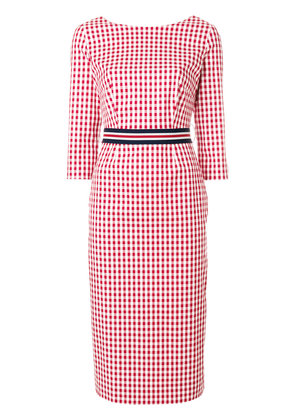 P.A.R.O.S.H. checked fitted dress - Red