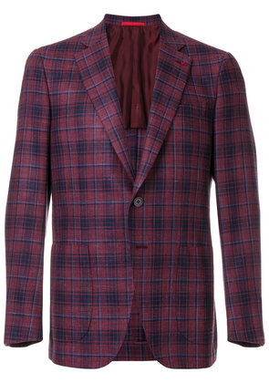 Isaia checked suit jacket - Red