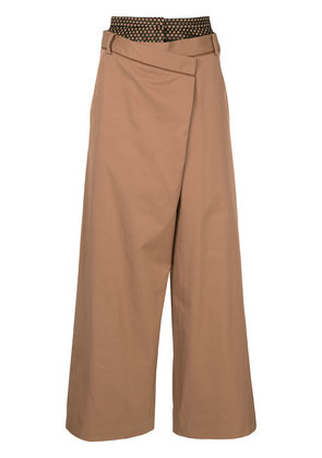 Aula layered wide-leg trousers - Brown