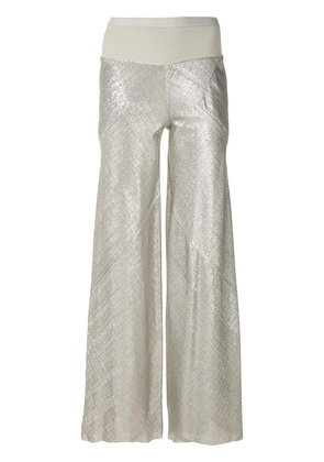 Rick Owens Lilies metallic effect flared trousers - Nude & Neutrals