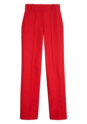 Burberry Cotton Drill High-waisted Trousers - Red