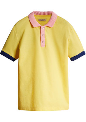 Burberry Two-tone Stripe Knitted Detail Cotton Polo Shirt - Yellow &