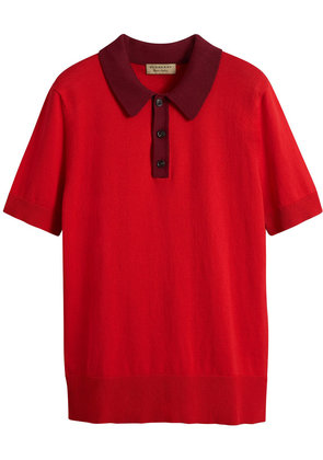 Burberry Two-tone Knitted Cotton Polo Shirt - Red