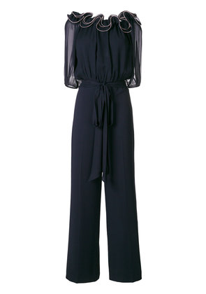 Blumarine ruffle neck jumpsuit - Blue