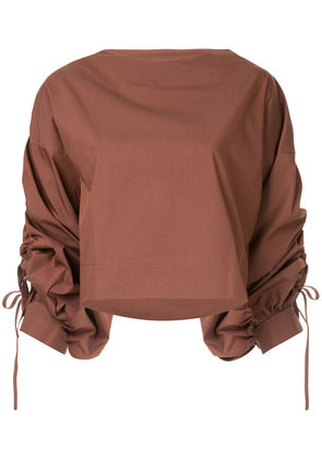 Aula ruched sleeve top - Brown