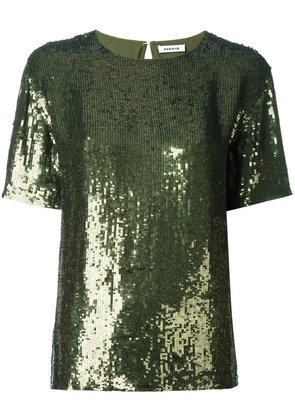 P.A.R.O.S.H. short sleeved sequinned top - Green