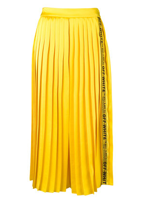 Off-White logo tape pleated midi skirt - Yellow & Orange