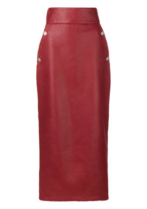 Sara Battaglia high-waisted pencil skirt - Red