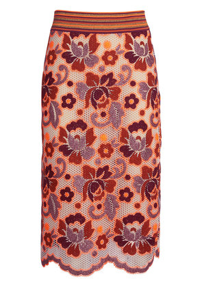 Burberry Floral Crochet Fitted Skirt - Yellow & Orange