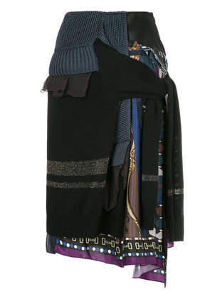 Kolor patchwork knit skirt - Blue
