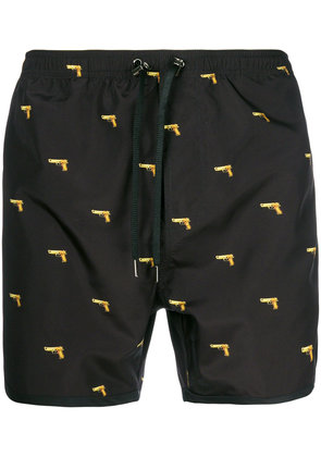 Neil Barrett gun print swim shorts - Black