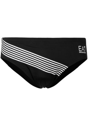 Ea7 Emporio Armani stripe logo swim briefs - Black