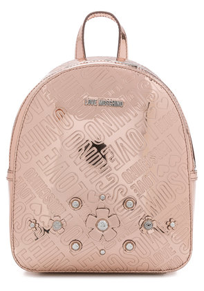 Love Moschino embossed floral logo mini backpack - Pink & Purple