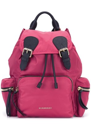 Burberry The Medium Rucksack in Technical Nylon and Leather - Pink &