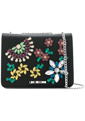Love Moschino crystal embellished crossbody bag - Black