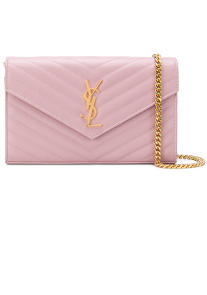 Saint Laurent foldover logo crossbody bag - Pink & Purple