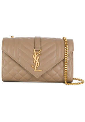 Saint Laurent square embossed crossbody bag - Nude & Neutrals
