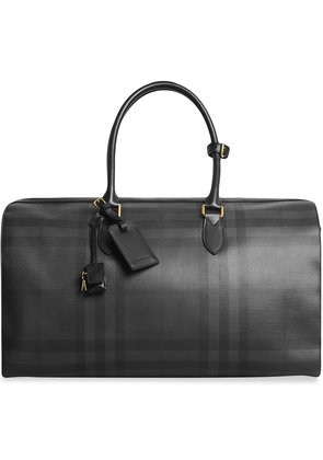 Burberry Leather Trim London Check Holdall - Grey