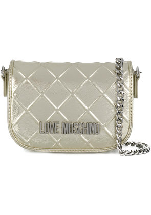 Love Moschino front logo mini bag - Metallic