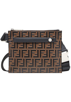 Fendi logo monogram messenger bag - Brown