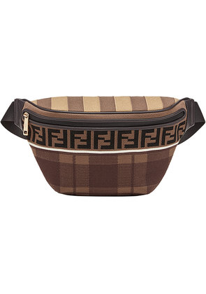 Fendi logo tartan belt bag - Brown