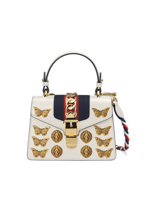 Gucci Sylvie animal studs leather mini bag - White