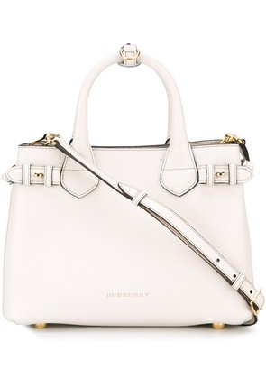 Burberry The Small Banner in Leather and House Check - White