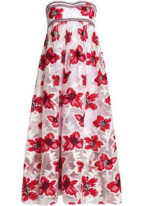 Tory Burch Woman Woven-trimmed Pleated Fil Coupé Midi Dress Red Size 8