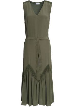 Claudie Pierlot Woman Lace-trimmed Crepe Midi Dress Army Green Size 40