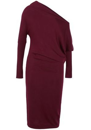 Tom Ford Woman One-shoulder Draped Cashmere And Silk-blend Dress Plum Size XL