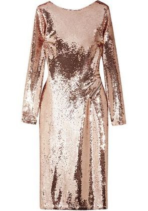 Tom Ford Woman Zip-detailed Sequined Satin Dress Rose Gold Size 46