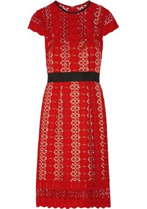 Catherine Deane Woman Grosgrain-trimmed Guipure Lace Dress Red Size 4