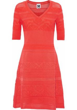 M Missoni Woman Ribbed And Pointelle-knit Dress Coral Size 38