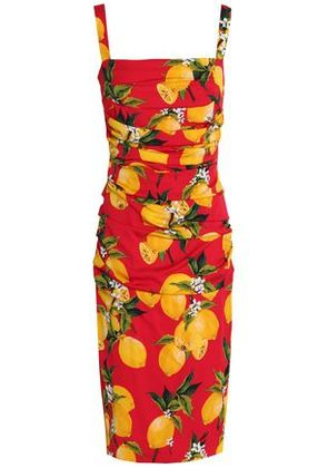 Dolce & Gabbana Woman Ruched Printed Stretch-silk Dress Red Size 40