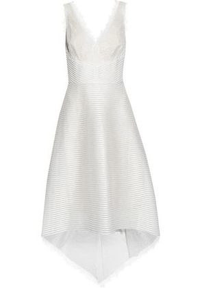 Marchesa Notte Woman Chantilly Lace-paneled Ribbed Tulle Dress Ivory Size 6