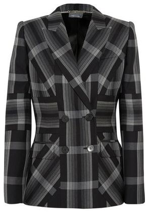 Alexander Mcqueen Woman Checked Silk And Wool-blend Blazer Charcoal Size 42