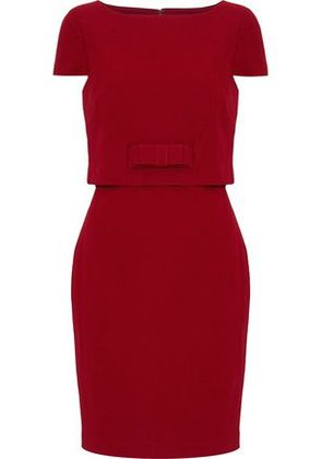 Badgley Mischka Woman Bow-detailed Layered Cady Mini Dress Red Size 10